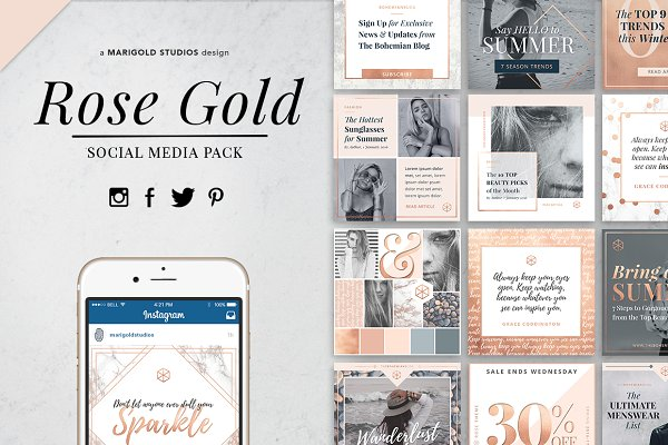 ROSE GOLD | Social Media Pack