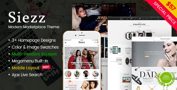 Siezz - Modern Multipurpose MarketPlace WordPress Theme (Mobile Layout Included)