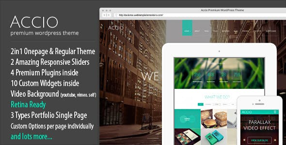 Accio | Responsive Onepage Parallax Agency WordPress Theme