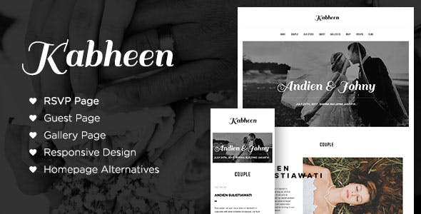 Kabheen - Modern Wedding WordPress Theme