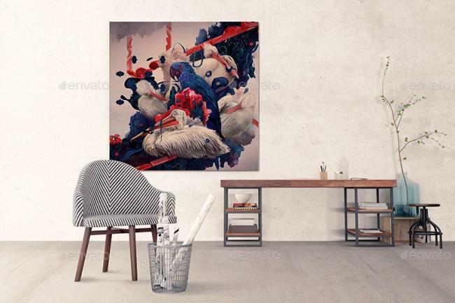 Art Wall Mockups - Interior Work Desk V2