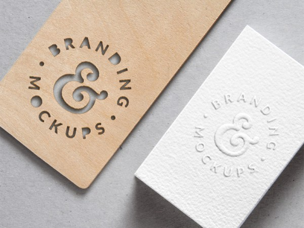 Cutout Wood and Embossed Business Card MockUp PSD