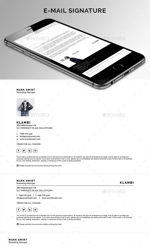 E-mail Signature PSD and HTML Template