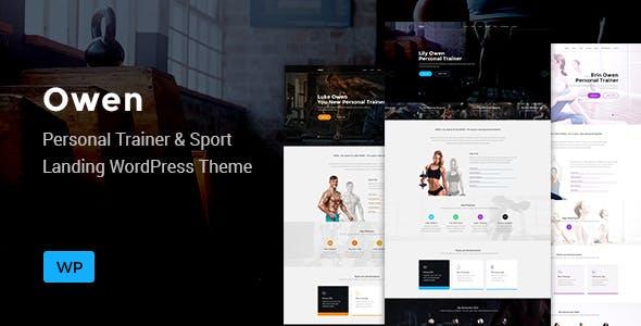 Owen - Personal trainer & Sport One Page Landing WordPress theme