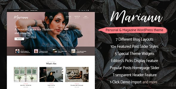 Mariann - Personal WordPress Blog Theme