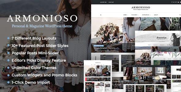 Armonioso - Personal & Magazine WordPress Responsive Blog Theme
