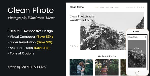 Clean Photo - Photography Portfolio WordPress Theme