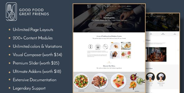 Ratatouille - Restaurant WordPress Theme