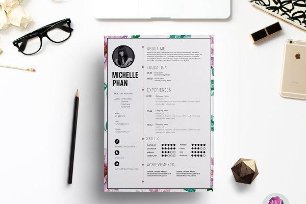 Floral CV template