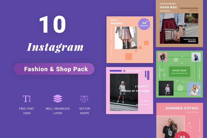 Instagram Social Media Pack - Shop Edition