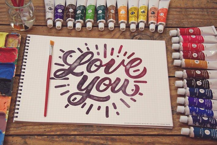 Grid Paper Notebook Paint Scene
