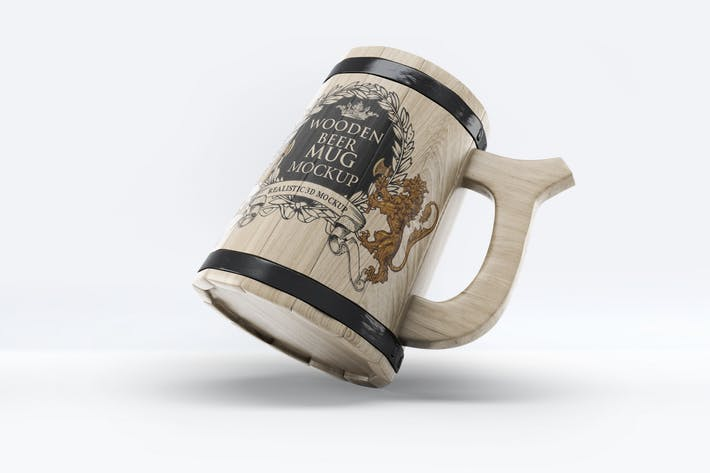 Wooden Beer Mug Mock-Up