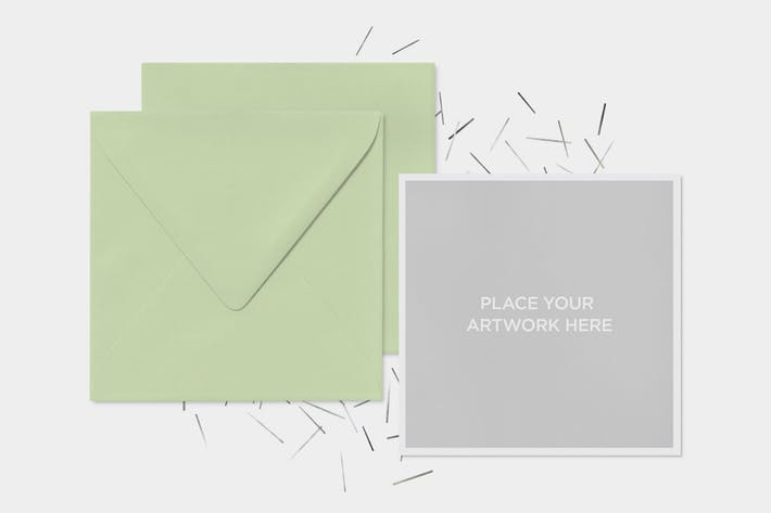 Invitation Greeting Square Cards Envelope Mock-Up