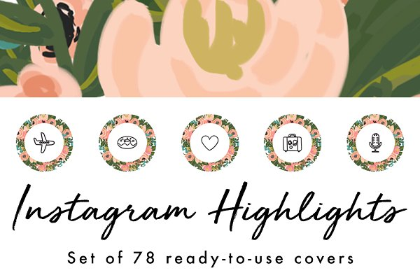 78 Floral Instagram Highlight Cover…