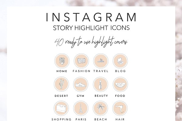40 Instagram Highlight Icons Beige