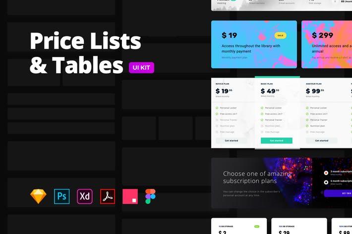 Price Lists & Tables – Multi-format UI Kit