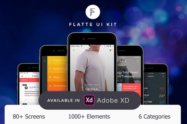 Flatte UI Kit - 80++ for XD