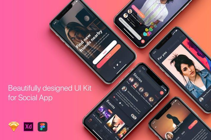 Social mobile App UI Kit for Iphone X