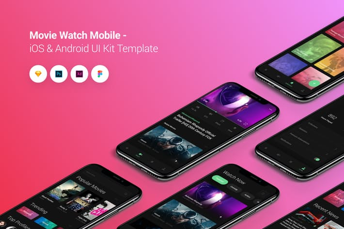 Movie Watch Mobile iOS & Android UI Kit Template