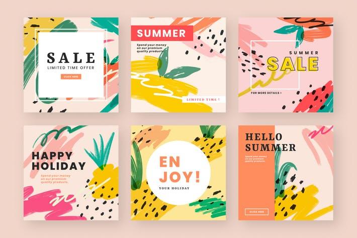 Colorful website banner design vector set
