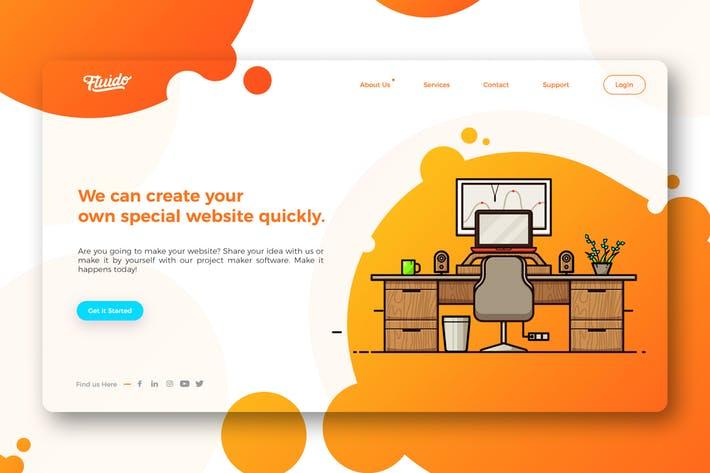 Colorful website hero header template