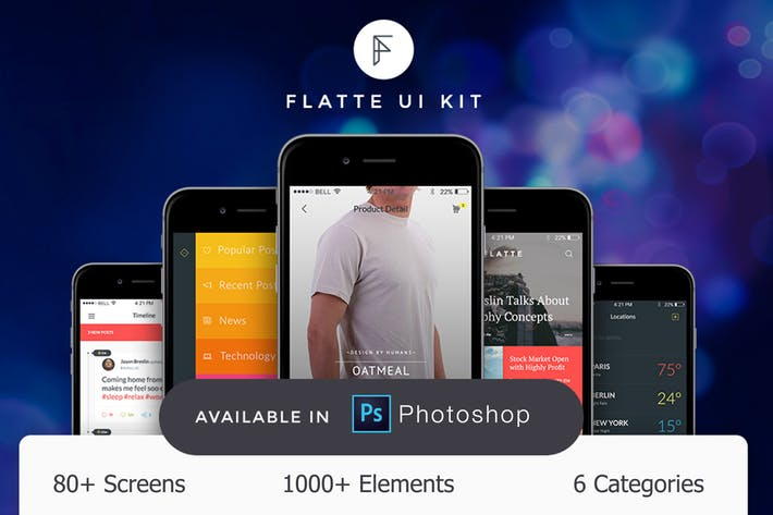 Flatte UI Kit - 80++ for Photoshop