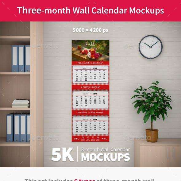 Wall Quarterly Calendars Mockups