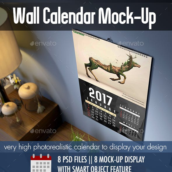 Photorealistic Wall Calendar MockUp