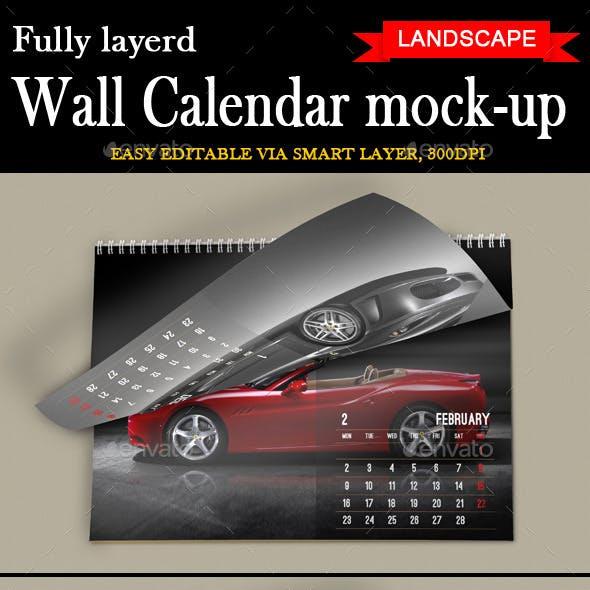 Wall Calendar Mockup Landscape Model
