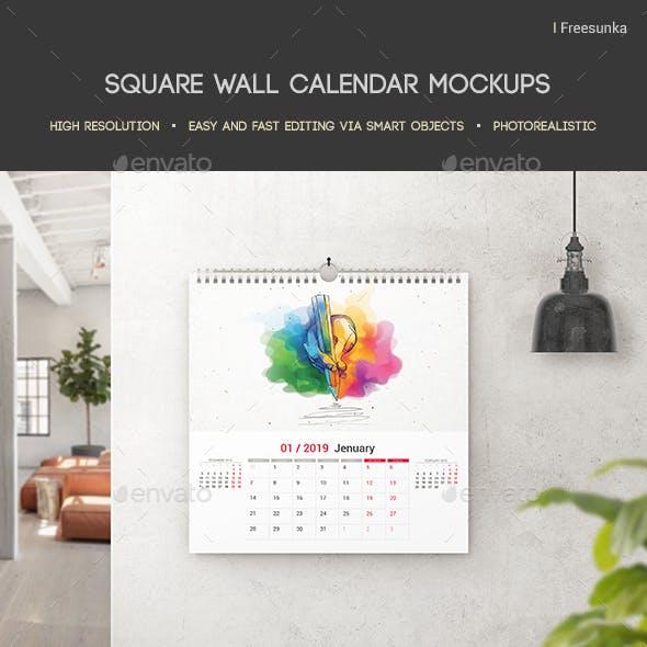 Square Wall Calendar Mockups