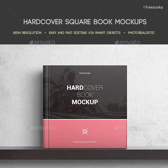 Hardcover Square Book Mockups