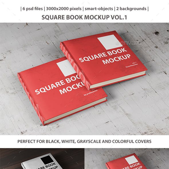 Square Book Mockup Vol. 1