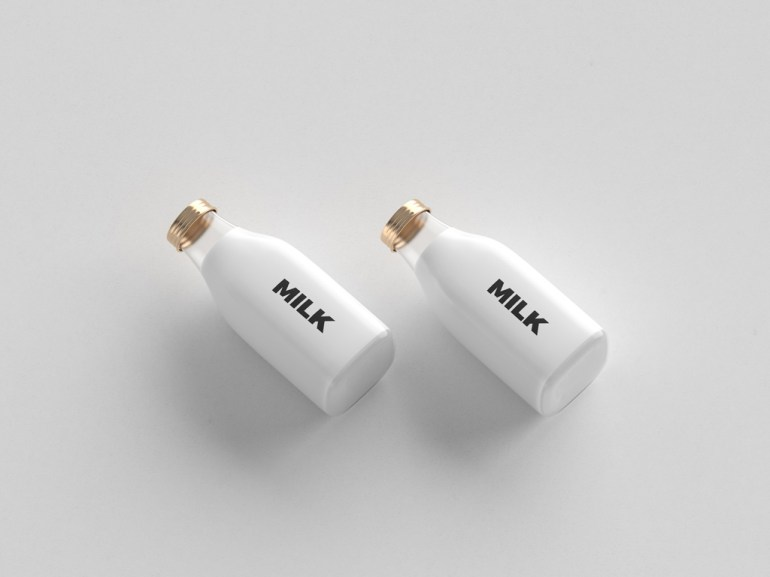 Free Two small Bottles Mockup