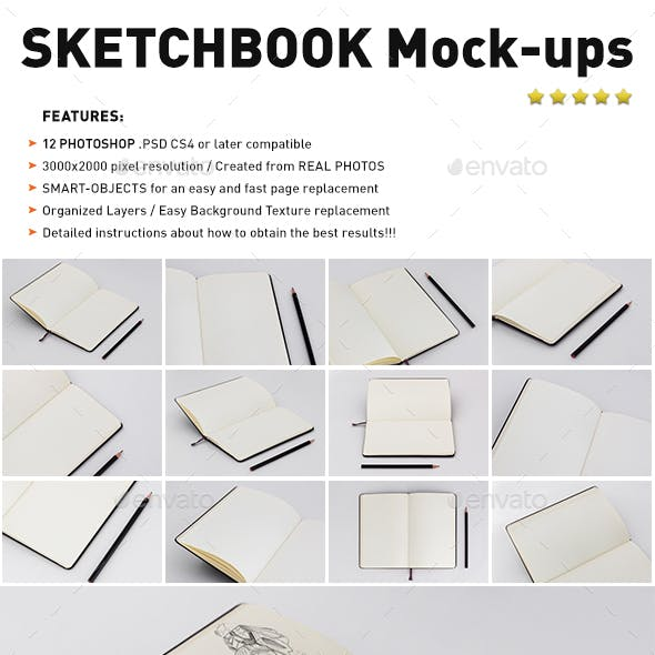 Photorealistic Sketch Book Mockups