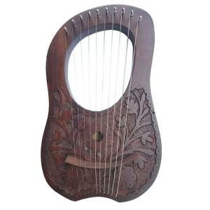 Engraved Flower Design Lyre harp 10 Strings