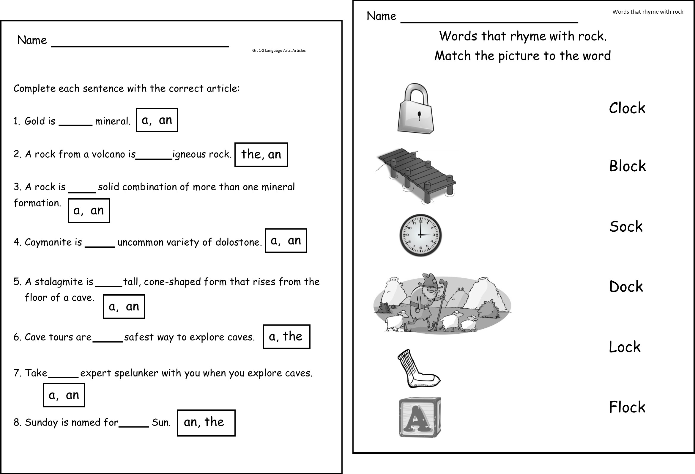 Kindergarten Rocks Worksheet