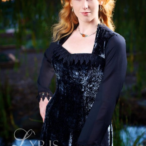 Starlight black and silver silk velvet dress