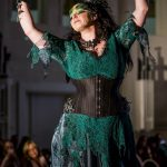 Green and black corset and lace dark forest fae gown