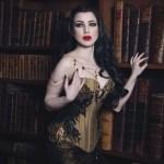 Gold silk black lace dragon scale corset