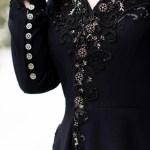 Navy wool coat with beading