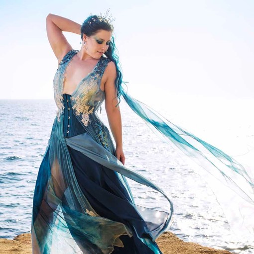 Ocean silk gown and corset