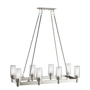 Circolo 8 Light Linear Chandelier - Brushed Nickel