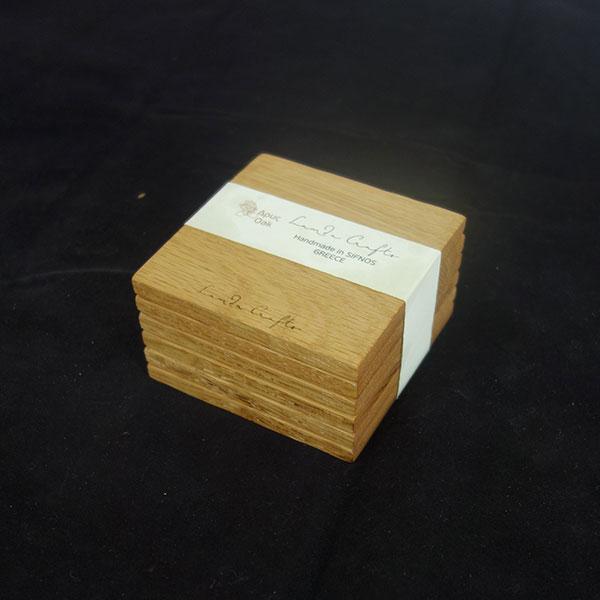 ξύλινο σουβέρ τετράγωνο σετ 6 τεμάχια