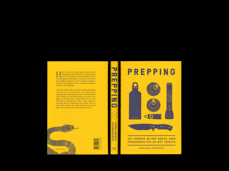 Prepping av Anna-Maria Stawreberg, utgiven av Norstedts och formgiven av Lukas Möllersten och redigerad av Dimitris Alevras på Lyth & Co.