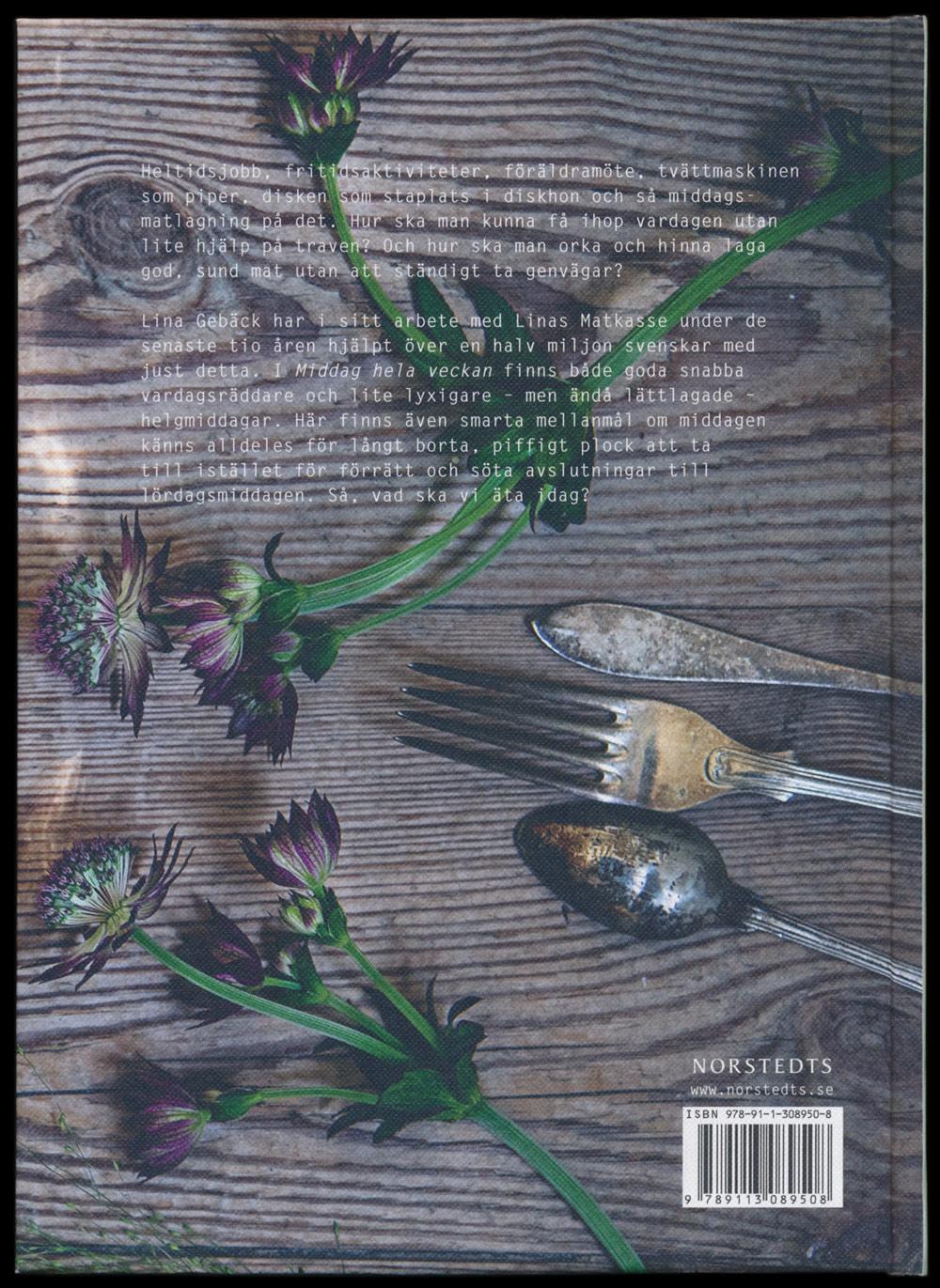 Middag hela veckan – Linas mat, Lina Gebäck, redigering av Hedvig Ohlsson (lyth & Co), formgivning av Annika Lyth (Lyth & Co)