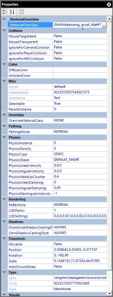 Object Properties Panel