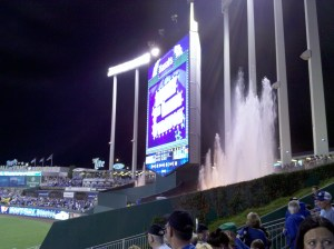 Fountains at Kauffman Stadium.  Kansas City is The City of Fountains and is sister city to Seville, Spain.