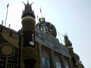 Outside the entrance to the Corn Palace in Mitchell, South Dakota.