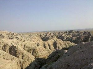 Looking into the Badlands National Monument, South Dakota.