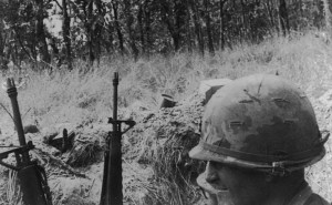 Hal Moore in foxhole